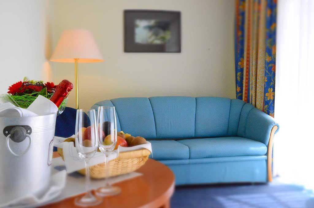 Eine unserer Suiten mit Balkon zur Südseite des Hotels
